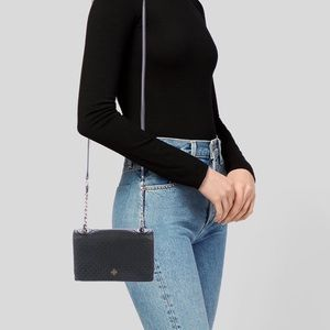 Tory Burch Black Quilted Leather Crossbody Bag